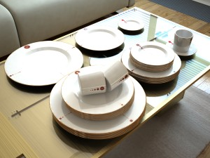 George Ranalli Designs dinnerware, utensils, and AI table.